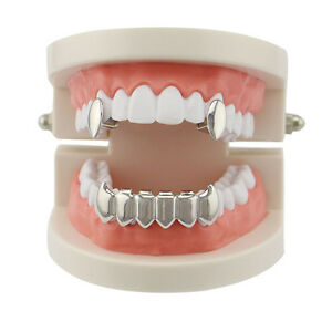 Custom Fit Hip Hop Grills Fangs 2 Single Top and 6 Bottom Set Bling Teeth Grillz