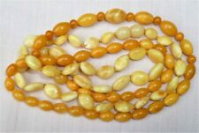 2 ANTIQUE VINTAGE STRINGS of  MILK & YELLOW AMBER BEADS NECKLACES