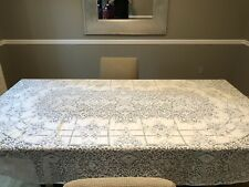 Vintage Hand Stiched Table Cloth Linen Dollie Pattern Full Size 96x48