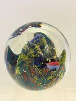 Vintage Paperweight Art Sea Fishes Reef Coral Aquarium