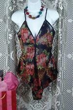 Victoria's Secret Teddy Medium blue sheer red floral m VS sexy gold label Sale