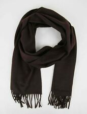 $475 Burberry Solid Brown Cashmere Scarf w/Fringe and Embroidered Logo 39942731