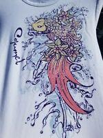 Del Sol Color Changing koi fish Crew TShirt size small cozumel mexico UV sun