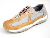 PRADA Americas Cup Sneakers Gold Leather Gray Mesh Womens size US 7 EU 37 $580