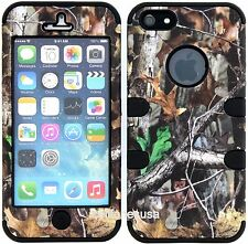 Apple Iphone 5 5s Slim Armor Hard Cover Case Leaf Branch Camo Mossy On Black