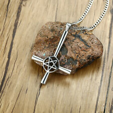 Inverted Cross Pentacle Pentagram Star Silver Pendant Necklace Satanic Religious