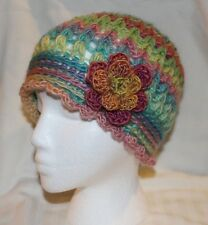 WOMAN'S HAND-CROCHETED FLAPPER HAT WITH FLOWER--PASTEL RAINBOW--NEW
