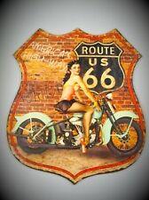 Wandschild Eisen H.80x68cm Wappen Highway Route 66 Neue Form antik Vintage