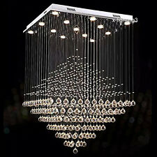"W24"" Modern Crystal Light Lamp Chandelier Square Diamond Lighting Fixture"