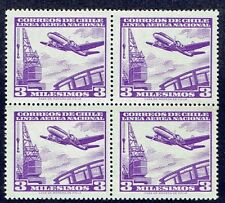 CHILE 1960 AIR MAIL STAMP # 614 MNH BLOCK OF FOUR AIRCRAFT
