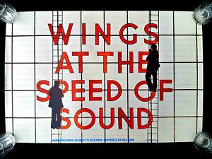 "PAUL MCCARTNEY'S WINGS ""AT THE SPEED OF SOUND"" ALBUM 1976 GENUINE POSTER UNUSED"