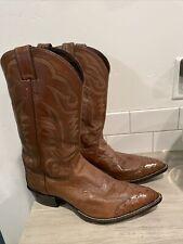 New listing Vintage Justin Cowboy Boots Fancy Ostrich Size 12D Excellent Shape Style 40067