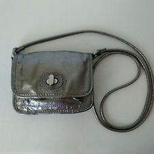 Fossil Mini Leather Crossbody  Metallic Pewter Crackled Finish with Twist Lock