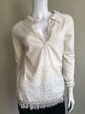 TWIN-SET Ivory Jeweled Fashion Cashmere/Wool Blend Sweater Large