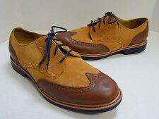 Cole Haan 9M Great Jones Wingtip II Derby C13570 Tan Suede Brown Leather Oxfords