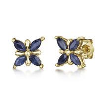 9ct Gold Schmetterling Muster Blauer Saphir Ohrstecker 7mm