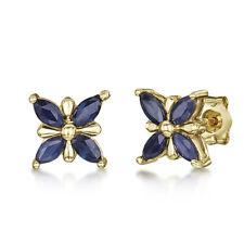 9ct GOLD Mariposa Con Diseño Azul Pendientes de rosca ZAFIRO 7mm