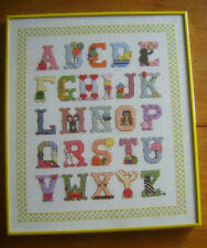 Nursery Baby ALPHABET LETTERS Counted Cross Stitch Picture Glass Framed Yellow
