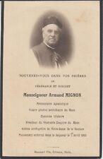 Mémento Abbé Armand MIGNON (Saint-Georges-du-Rosay, 1851 - Le Mans, 1933) Sarthe