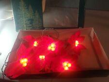 Vintage Christmas Lights Red Poinsettia Flowers 21 Lights - 7 Flowers