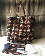 6f4c00be2a98 NWT Authentic PRADA Floral Print reversible Nylon Shopper Tote Bag In Down  Brown