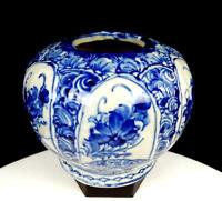 "ASIAN PORCELAIN BLUE WHITE FLORAL RIBBED HEAVY 4 7/8"" GLOBE VASE"
