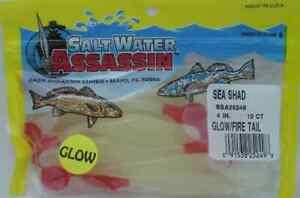 "Bass Assassin SSA25249 4"" Sea Shad 10 Pk Glow Firetail 14977"