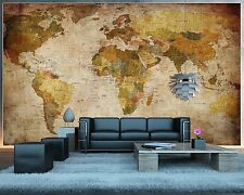 Mega World Map Large Antique Wall Mount Old Earth Picure Home Vintage Decor
