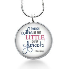 Shakespeare Quote necklace- Little she is Fierce! Library Pendant,  Teacher gift