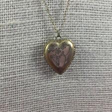 Vintage Gold Filled Locket Necklace Etched Heart Pendant Dobson 1/20 over 12Kt