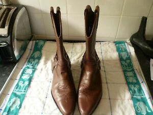 vintage wrangler leather cowboy boots uk 9 good condition