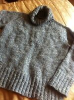 Blue Mix Thick Chunky Knitted Roll Neck Jumper Size 16  Eur44 Next Lovely ..