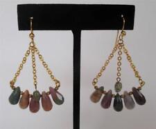 Gold Vermeil Chain Multi Gemstone Chandelier Earrings Green Pink Purple