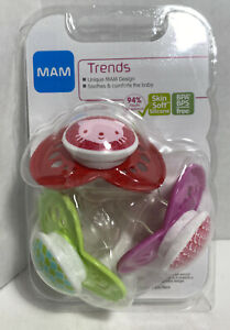 MAM Baby Trends Pacifiers 3 Pack 6mo Trending Designs