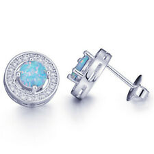 1 Pair Woman Fashion 925 Silver Jewelry Blue Fire Opal Charm Stud Earring NEW ~~