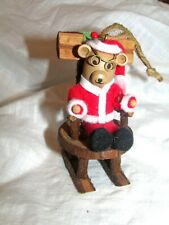 Santa Bear on Rough Wooden Folk Style Rocking Chair.so Cute!