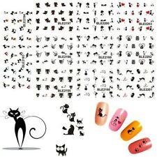 11 Design in 1 Black Cute Cat Design Water Transfer Nail Art Stickers Decorat…