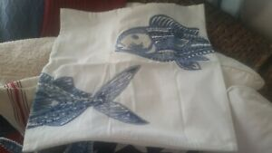 """NEW Pottery barn Lewes embroidered fish 20"""" pillow cover nautical coastal beach"""