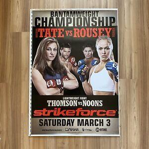"Strikeforce MIESHA TATE vs ROWDY RONDA ROUSEY 2012 MMA Event Poster RARE 28""x40"""