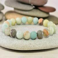 Amazonite Beaded Bracelet Natural Healing Stones Handmade Adjustable Jewellery