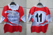 VINTAGE Maillot rugby CASTRES porté n°11 away shirt rouge rare FORCE XV XL