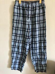 Nautica Sleepwear M Pajama Pants Blue, White Plaid Flannel Cotton