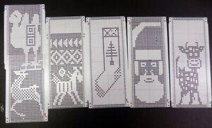 24 Stitch Punch Cards Knitting Machine Patterns Holiday Santa Reindeer Stocking