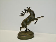 ANTIQUE BRONZE STAG BUCK DEER ON PEDESTAL CIRCA 1920 EXCELLENT CONDITION