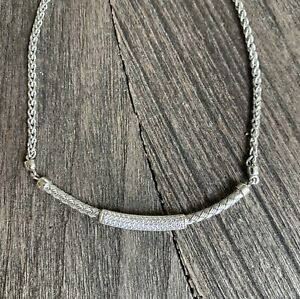 "CHARLES GARNIER Basket Weave Sterling Silver Bar Necklace With CZ's 16-18 """