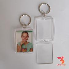 3 x Blank Photo Holder Keyring Large Insert Size 35mm x 45mm Frame Gift Keychain