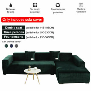 Plush Sofa Cover Velvet Stretch Thick Solid Color Living Room Armchair L-Shaped