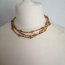 Anna Bijoux Womens Brown Glass Beaded Choker Necklace Costume Italy