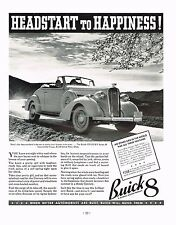 1936 BIG Vintage Buick 8 Century Series 60 Convertible Couple Car Photo Print Ad