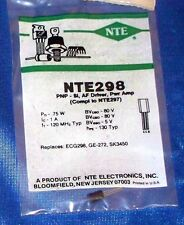 NTE298 TRANSISTOR PNP SILICON 80V IC=0.5A GIANT TO-92 CASE AUDIO AMP/DRIVER